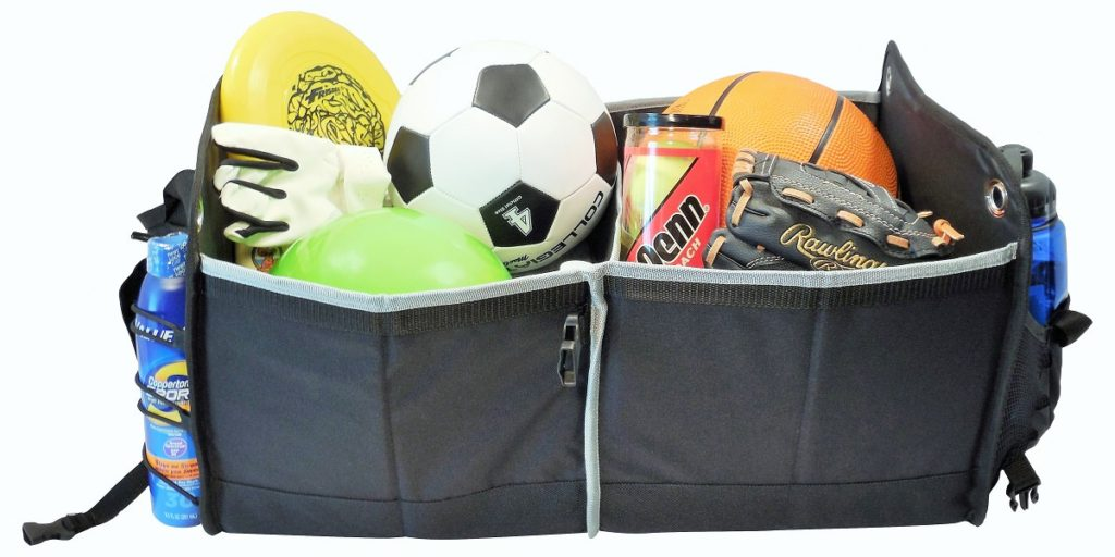 Just look at how much a car trucnk organizer can hold. This one is filled with sports gear, including a frisbee, soccer ball, tennis balls, baseball glove, basketball, sunblock, water bottle and golf glove.