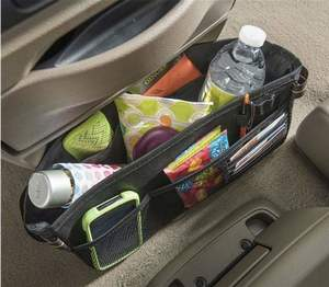 small dash organizer with phone, water and snacks