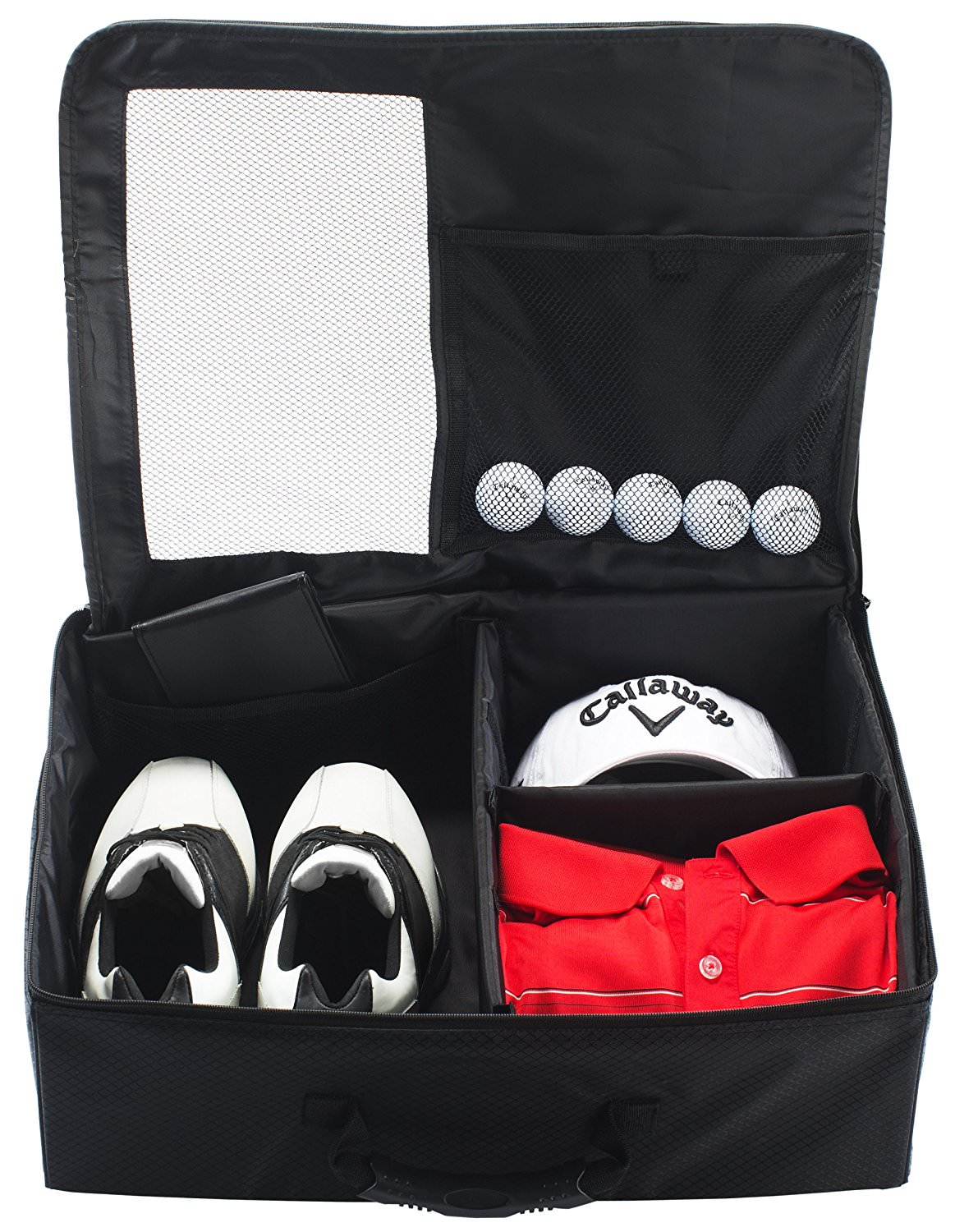 Opened Callaway Golf Trunk Locker with a red shirt, pair of gold shoes and 5 golf balls