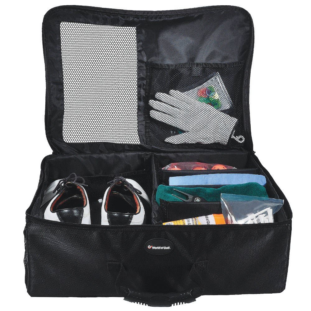 black single layer golf organizer opened and showing golf shoes and accessories