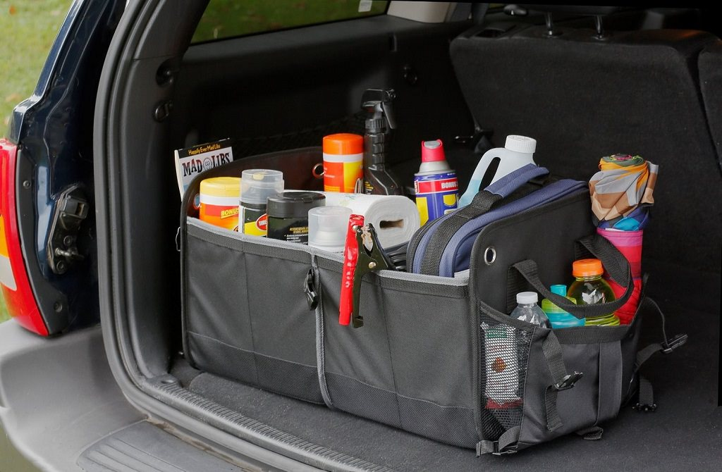 cargo organizer holding car cleaning and emergency road kit
