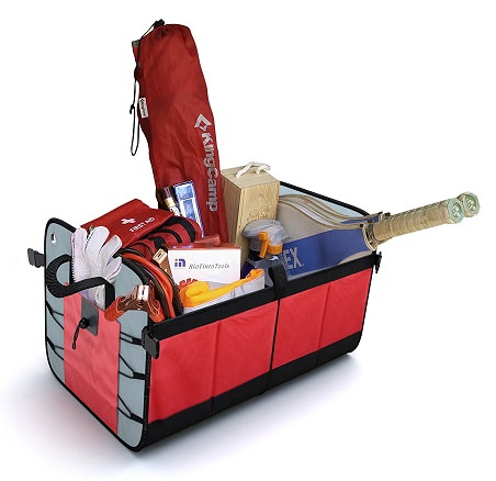 Red Trunk organzier filled with sports equipment
