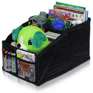 center seat organizer filled with kids toys and magazines