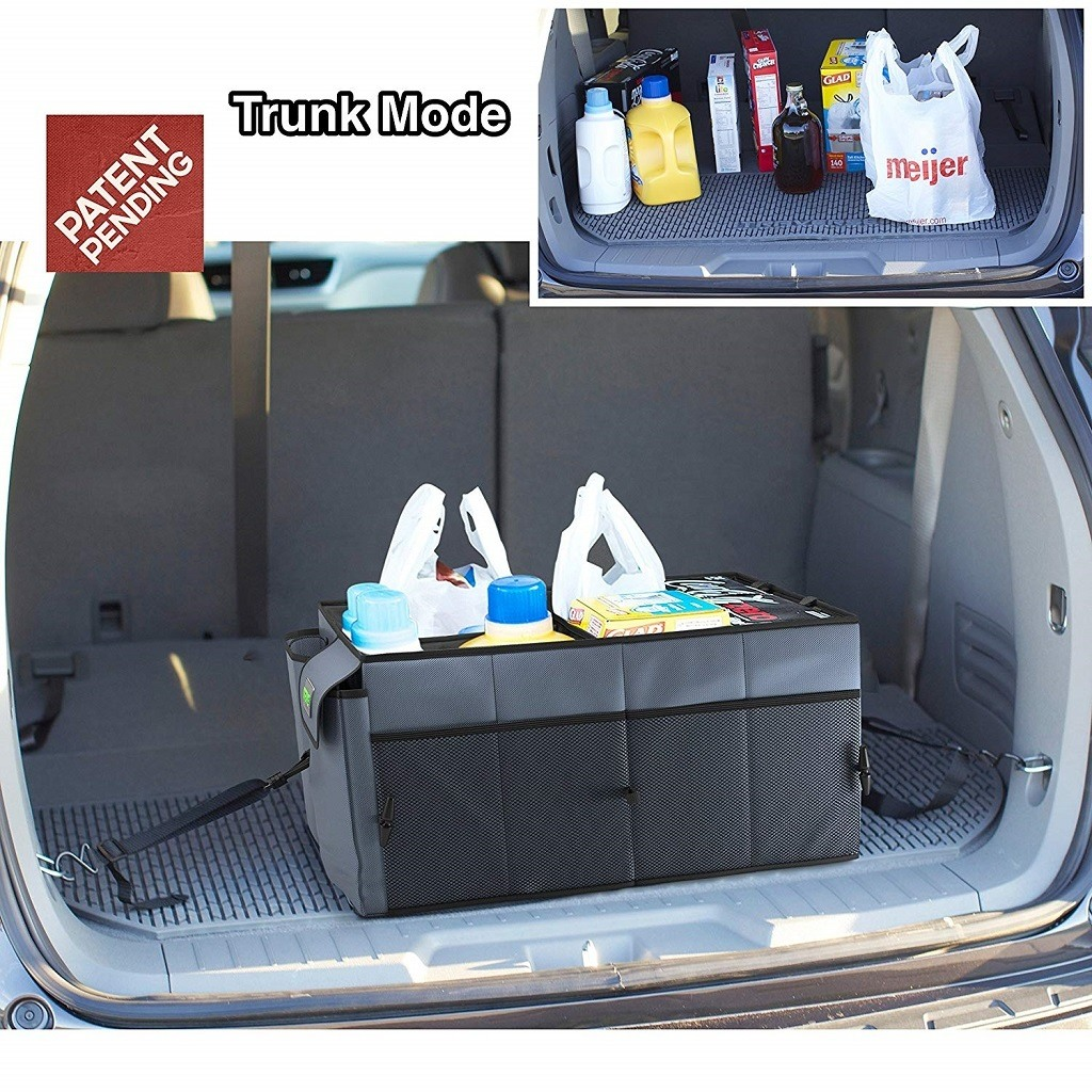 Car trunk with organizer with groceries