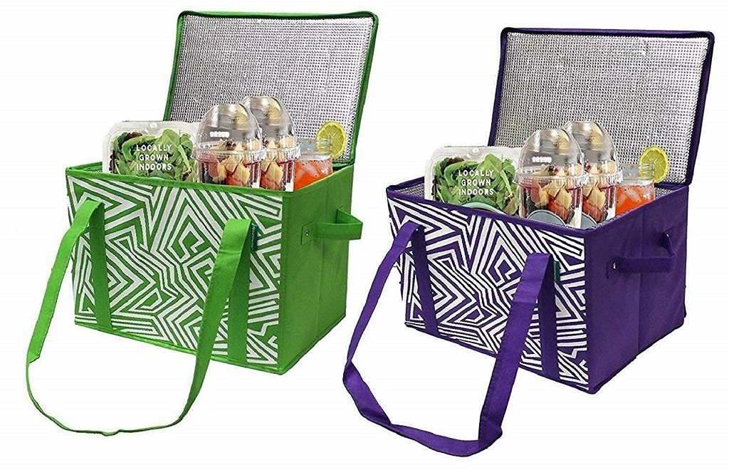 2 insulated grocer boxes - one in green & one in purple