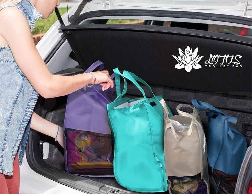 women adding the colorful bags into her car's trunk