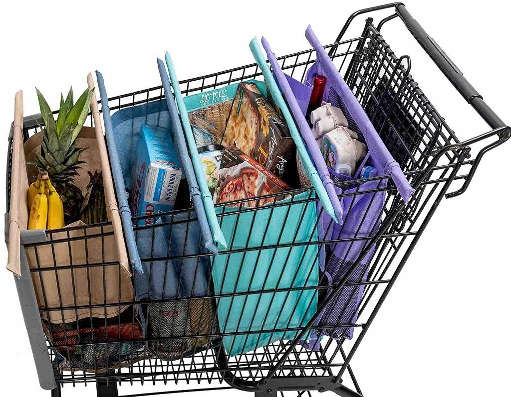 Four colorful shopping bags in a grocery car