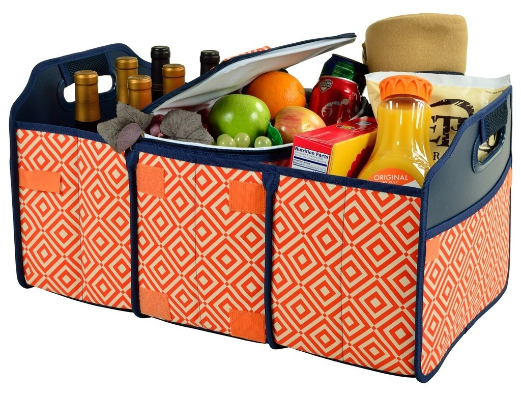 bright orange 3 compartment organizer with groceries and wine.