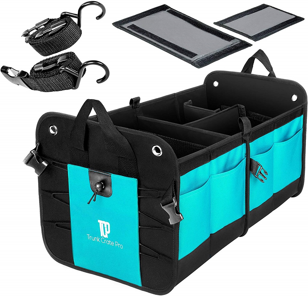 The Trunk Crate Pro Car Organizer shown in blue