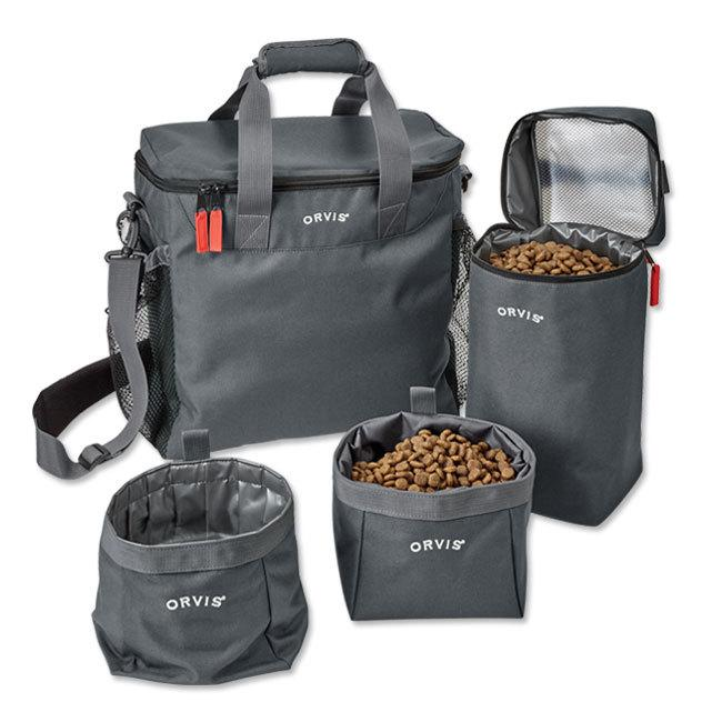 Orvis pet travel kit with food storage and serving containers in dark grey.