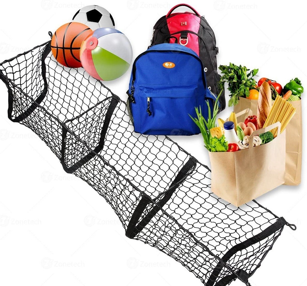 cargo nets with 3 dividers shown with sports gear, backpacks and groceries inside