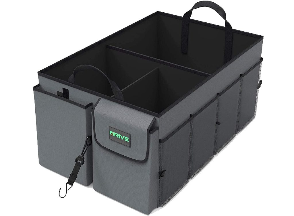 Black and grey trunk organizer by Drive auto products - image on white background