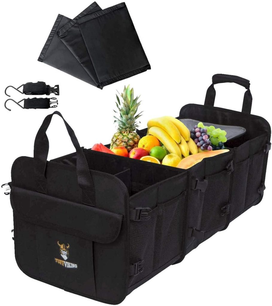 Tuff viking trunk organizer with middle cooler section for groceries