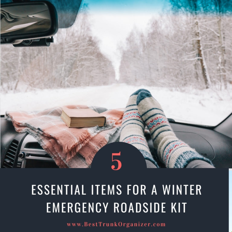 woman with her feet up in wool socks in the car plus blanket - essential items for a winter emergency kit